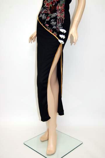 切り替え和柄チャイナ ロングドレス