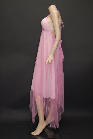 ラインストーンライン イレギュラー ミディアムドレス