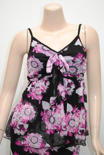 花柄ストレッチ ミディアム ツーピースドレス