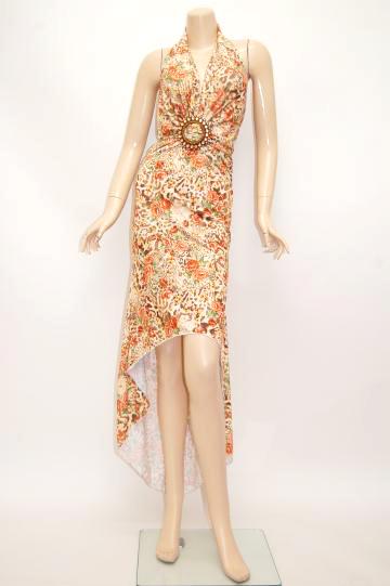 花柄★ストーンバックル ミディアムドレス