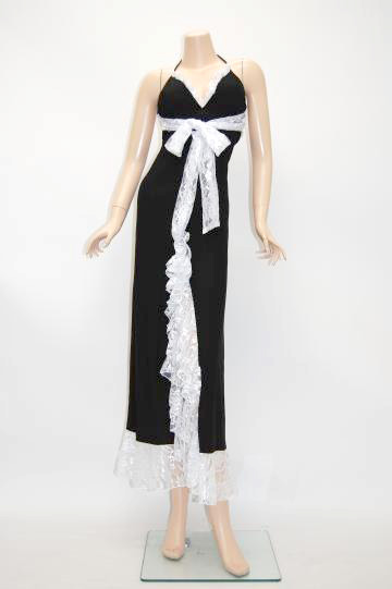 ふわふわレーススリット ロングドレス