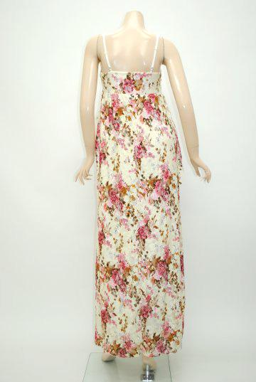 花柄レース☆胸元キラキラ ロングドレス