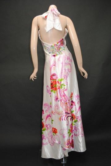 サテンカラフルフラワー ロングドレス