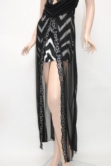 胸元キラキラシースルー ロングドレス