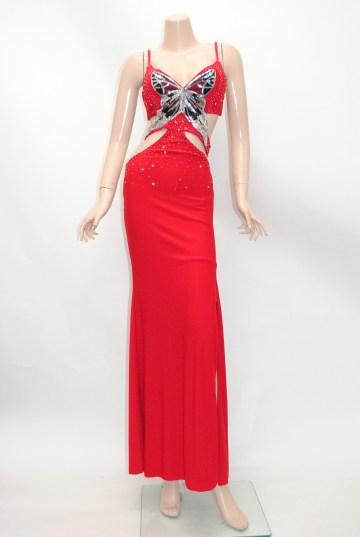 スパンコール蝶々 グラマラスカット ロングドレス