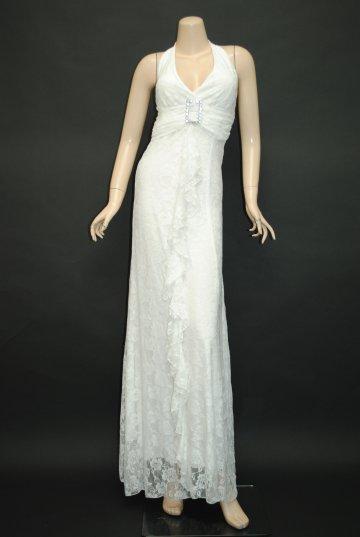 総レースバックル付き ロングドレス