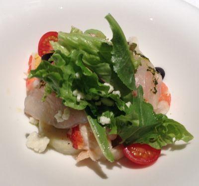 旬野菜と魚介のサラダ ジェノバ風