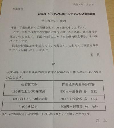 7421 カッパ・クリエイト 株主優待