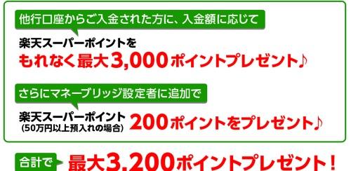 楽天銀行 他行からの振込キャンペーン
