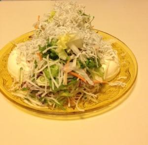 九条ねぎと生姜の豆腐サラダ~釜揚げしらすのせ~