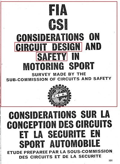 1969年世界初のサーキット安全規則 FIA