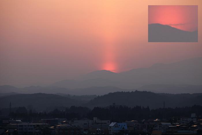 2014年3月29日 日没後の光柱