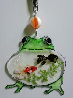プラバン 鳴き雨蛙に金魚