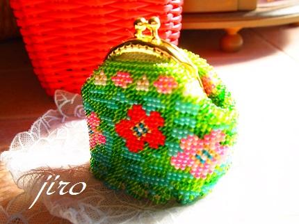 ビーズ編みがま口-flower garden.9