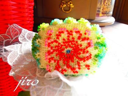 ビーズ編みがま口-flower garden