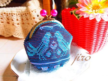 ビーズ編みがま口-青い鳥.13