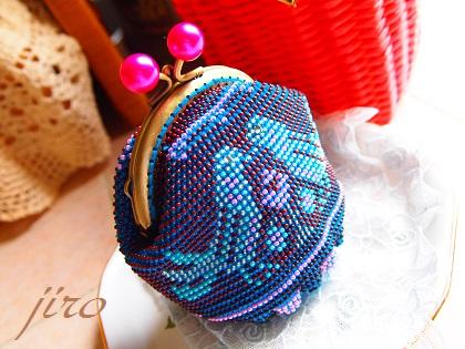 ビーズ編みがま口-青い鳥.11