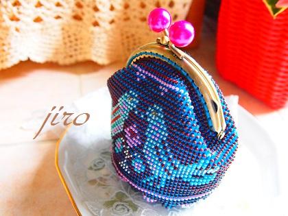ビーズ編みがま口-青い鳥.10
