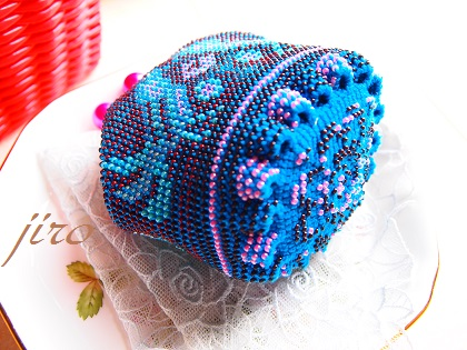 ビーズ編みがま口-青い鳥.4