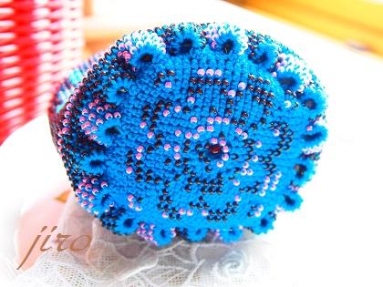ビーズ編みがま口-青い鳥.3