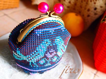 ビーズ編みがま口-青い鳥.8