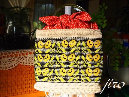ビーズ編みバッグ-マリーゴールド浴衣バッグ