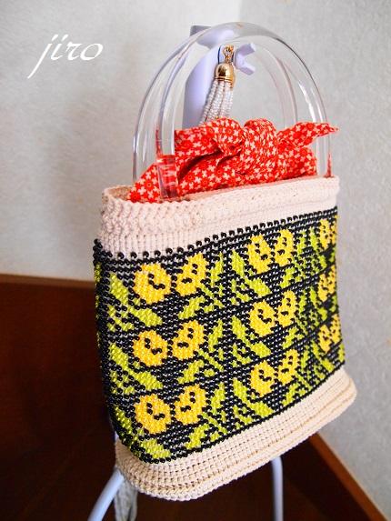 ビーズ編みバッグ-マリーゴールド浴衣バッグ.8
