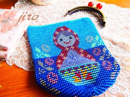 ビーズ編みがま口-マトリョーシカ