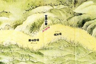 東海道分間延絵図:笈の平の甘酒小屋付近