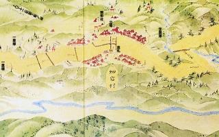 東海道分間延絵図:畑宿村付近