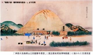 「神奈川及箱根山江尻龍華寺景図」の甘酒小屋