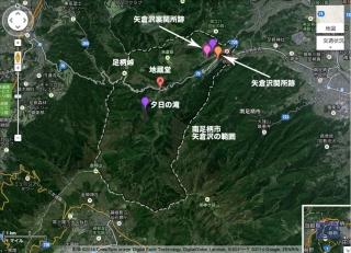 矢倉沢地蔵堂および周辺史跡の位置