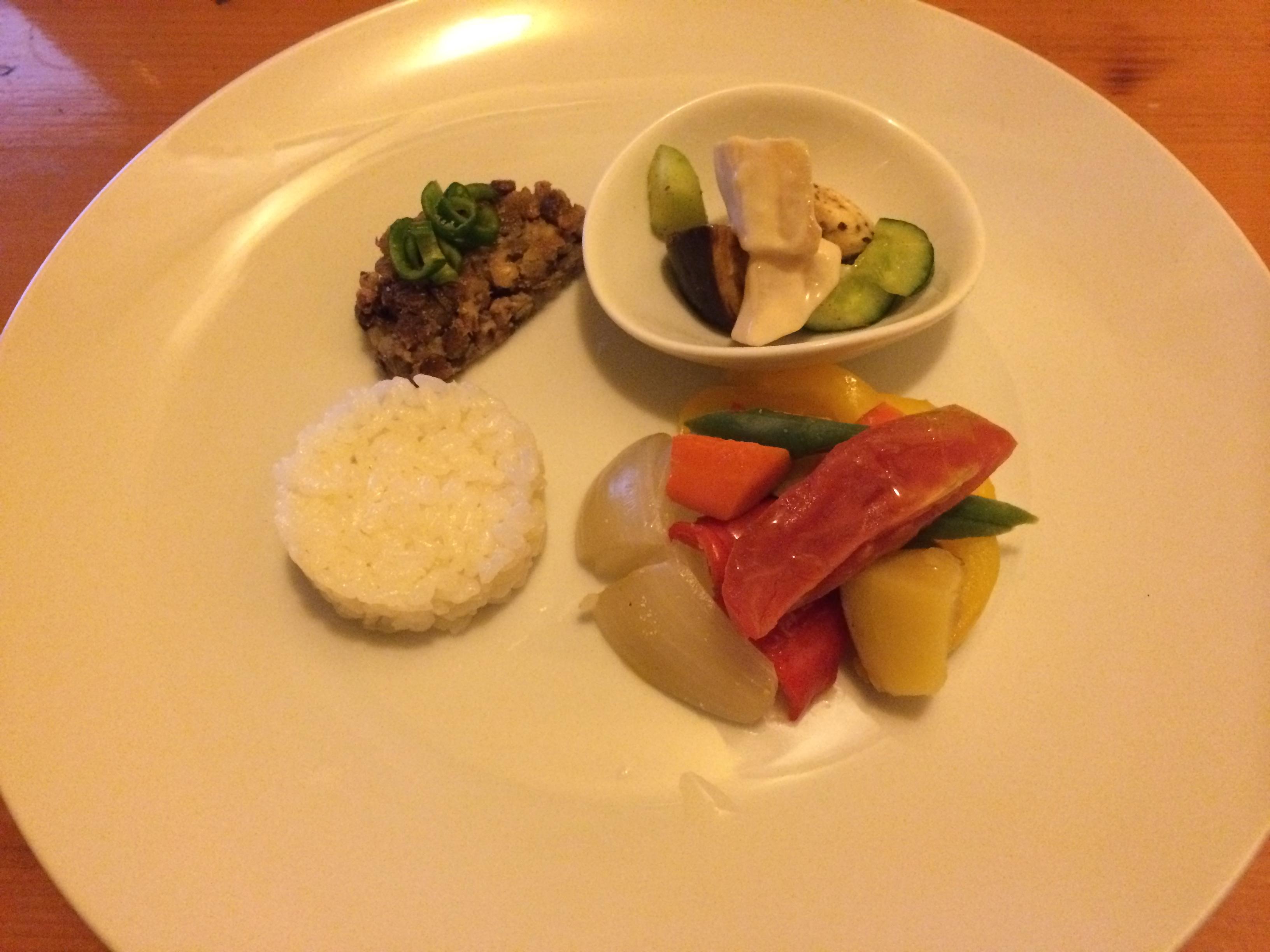 Bistro la fourchette美山野菜の温製、お米添え