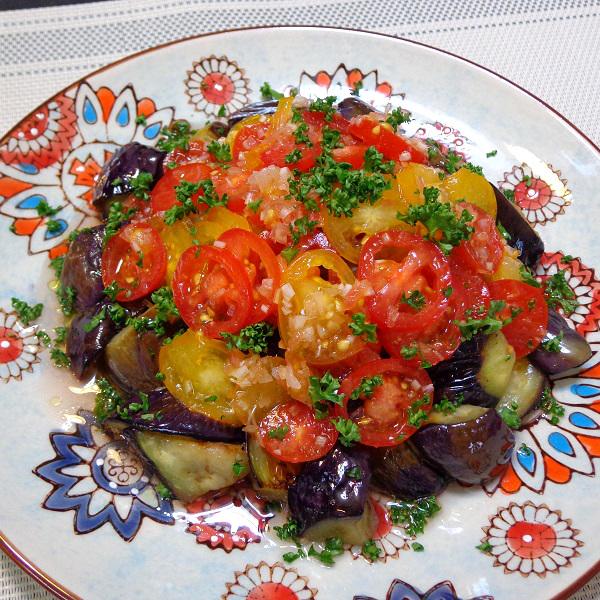 茄子とミニトマトのマリネ添え01