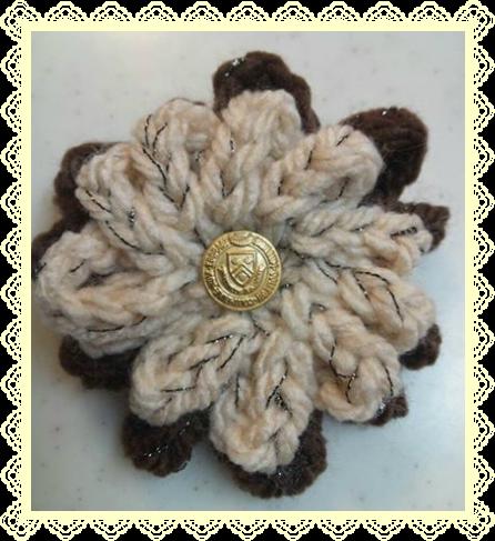 ベージュとブラウンの鎖編みお花バレッタ