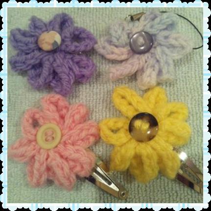 4種類の鎖編みのお花