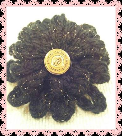 黒鎖編みの髪飾り