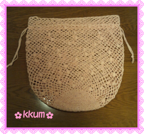 玉編みの巾着袋
