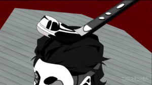 アニメ3話 ハイジャック犯の頭にこつん