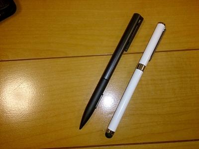 レザーケースに付属のペンと比較