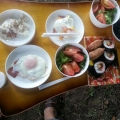 阿蘇キャンプ場での朝食