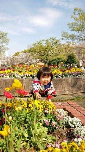 春の公園で