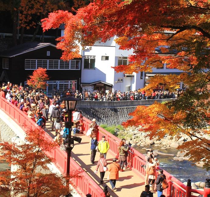 香嵐渓の紅葉 大混雑の待月橋
