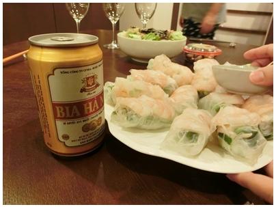 260909ベトナムビールと生春巻き1