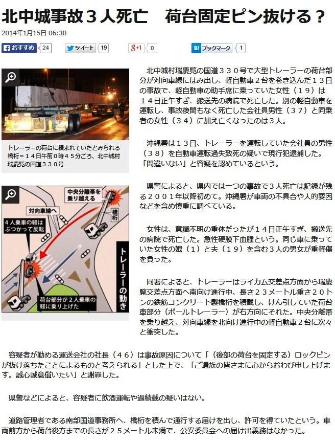 1月15日沖縄タイムス