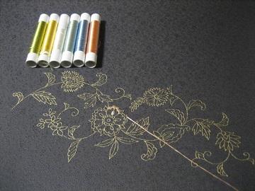 日本刺繍 金彩更紗1