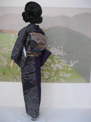 バービー 着物 片身変わり 黒と紫1