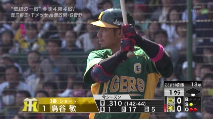 ウル虎、阪神がグリーンユニフォーム披露!(昼)鳥谷2