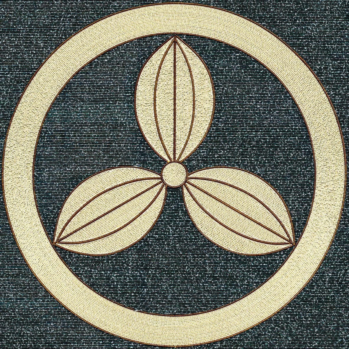 丸に三つなぎの葉