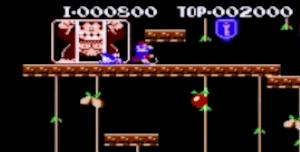ドンキーコングを捕らえている悪人マリオ